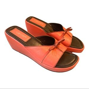 A. Giannetti Coral Platform Italian Leather Slides